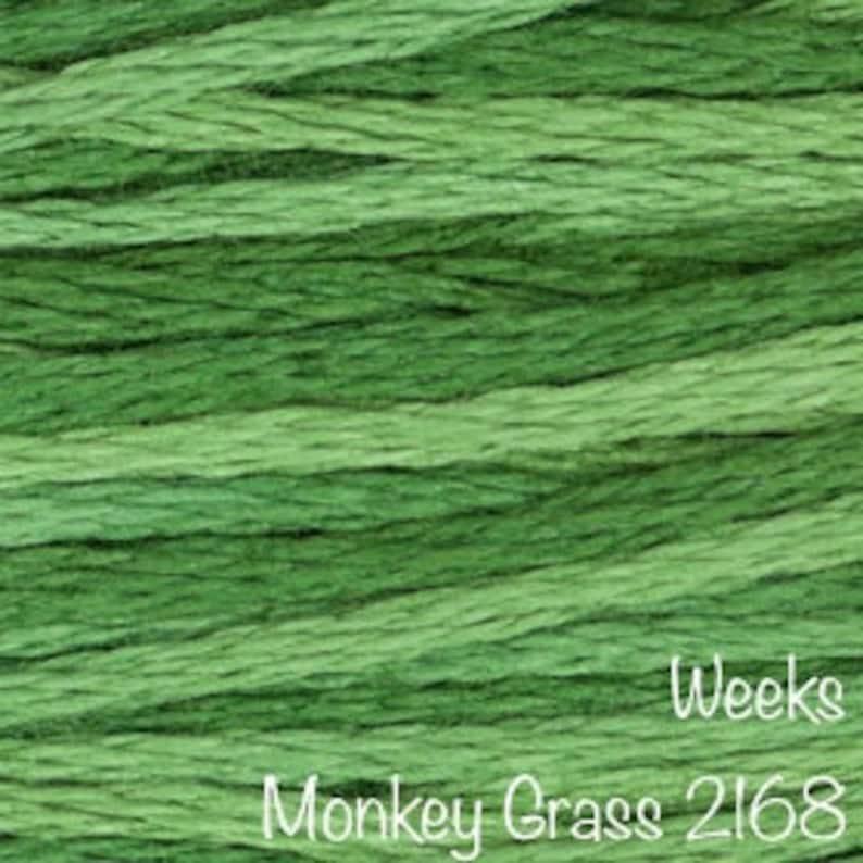 WEEKS DYE WORKS \u201cMonkey Grass 2168\u201d hand over-dyed embroidery floss