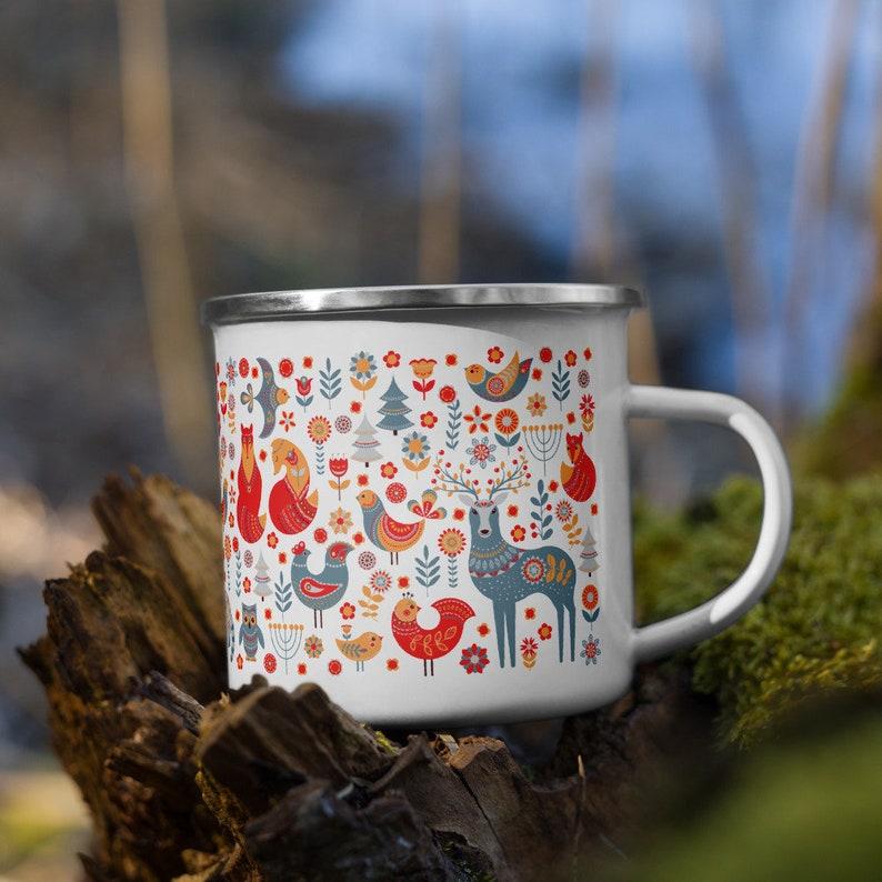 Scandinavian Folk Art Enamel Mug Campfire Mug Fall Coffee image 1