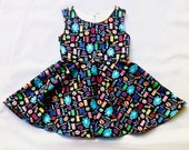 Monsters inc dress, birthday dress, monsters dress, gift for girl, boo, mike, sully, Randal, dress for toddler, monsters incorporated