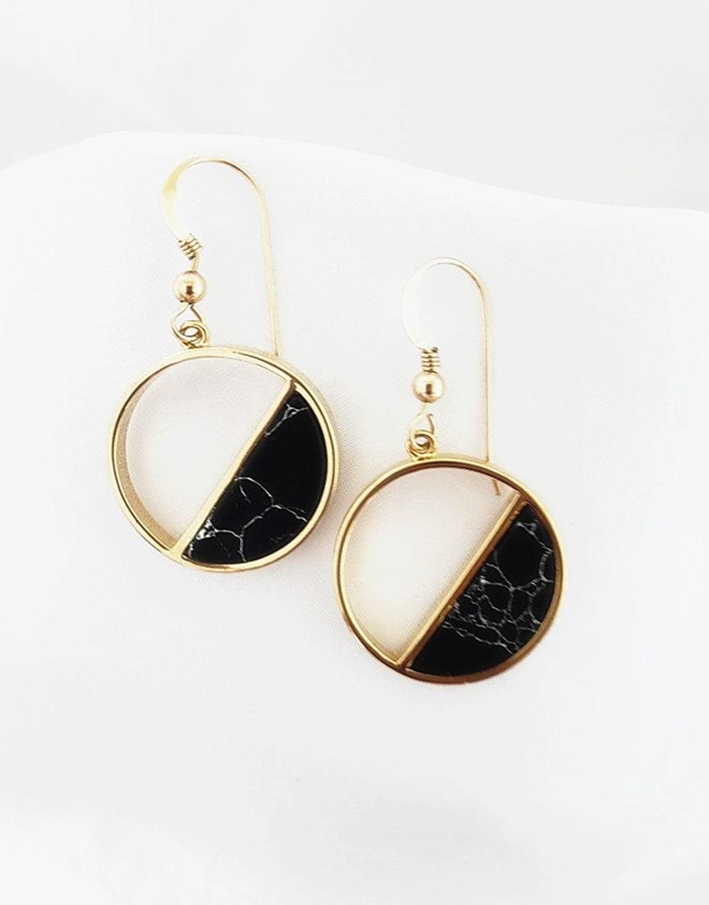 eb677b2054d55 Round Circle Black Marble Earrings. Geometric Hoop Dangle Drop Earrings.  Full Moon Half Moon Celestial Jewelry. Minimalist. Mothers Day Gift