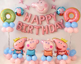 Peppa Pig Theme Birthday Decorations PEPPA PIG Party Balloon Set Latex Foil Doughnuts Princess Kids Baby Shower