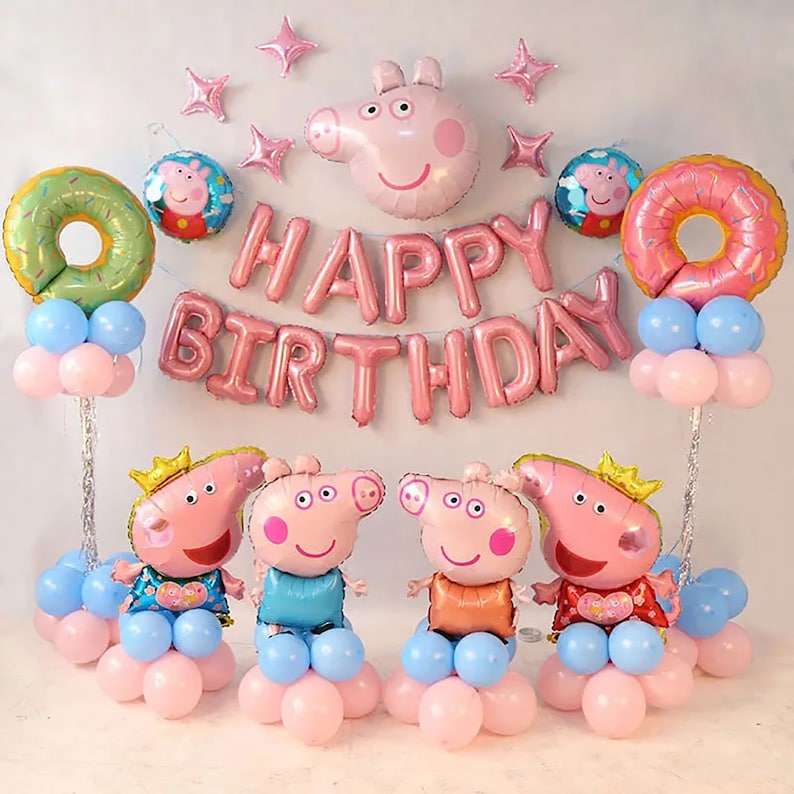 Peppa Pig Theme Birthday Decorations Peppa Pig Birthday Party Balloon Set Latex Foil Doughnuts Princess Party Kids Party Baby Shower