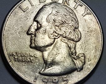 RARE 1996 P Washington Quarter Missing Earlobe Obverse with