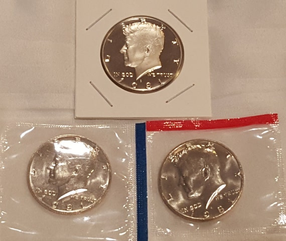 1973 P and D Kennedy Half Dollar Coins from US Mint Set 2 BU Cello 50c JFK