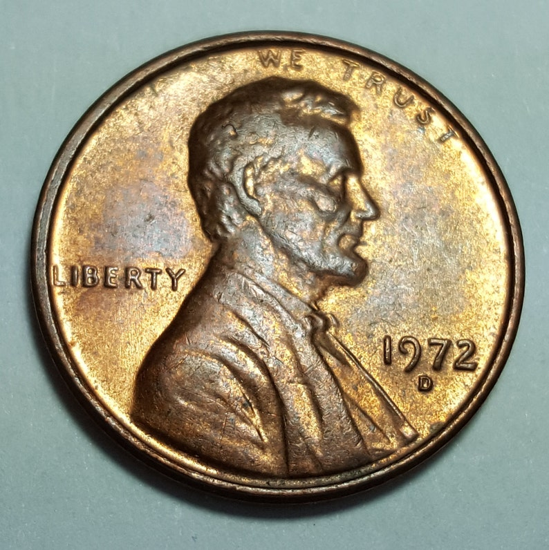 1972 D Lincoln Memorial Penny Struck Through Grease Missing