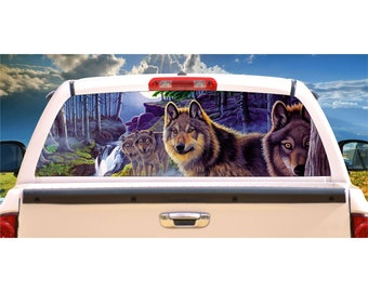 Wolf Wolves Moon Night Scene Rear Window Decal Graphic for Truck SUV