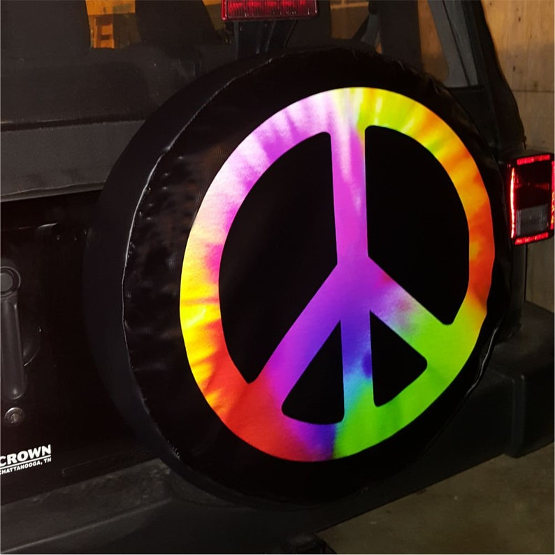 Jeep TIRE COVER CENTRAL Peace Sign Hand Tie dye on Black Spare Tire Cover for 255//70R18 fits Camper Drop Down Size menu etc Trailer rv