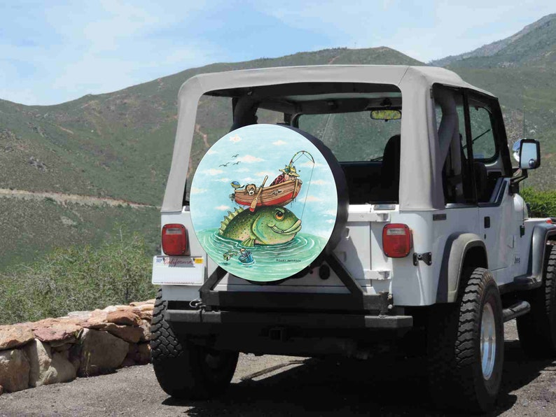 Fish #3 Fisherman Fishing Humor Spare Tire Cover Jeep RV Camper etc all sizes