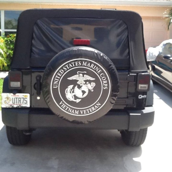 USMC Marines Combat Veteran Dust-Proof Waterproof Tire Cover Spare Wheel Tire Cover Fit for Jeep,Trailer SUV and Many Vehicle RV