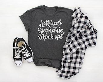 Download Free T-Shirt Mock Up | No Tag | Shirt Flat Lay | Dark Gray Heather | Shirt Mockup | Graphic Tee Flat Lay | Bella Canvas 3001 | Womens mockup PSD Template