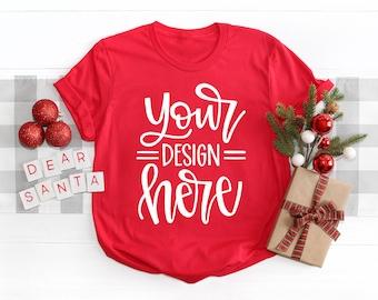 Christmas Bella Canvas 3001 Mock-up, Holiday Shirt Mock-up, Red Shirt Mock-up, Christmas Flat Lay Mock up, T shirt Mock up, SVG Mock-up,