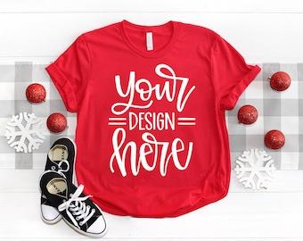 Christmas Bella Canvas 3001 Mockup, Holiday Shirt Mockup, Red Shirt Mock up, Christmas Flat Lay Mock up, T shirt Mock up, SVG Mockup,