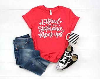Bella Canvas 3001 Mockup   Shirt Mockup   Red Shirt Mock up   Flat Lay Mock up   T shirt Mock up   Women's Flat Lay   SVG Mockup
