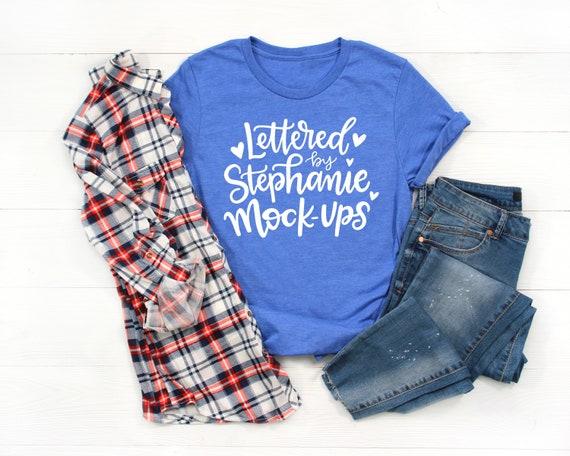 T Shirt Mock Up Bella Canvas 3001 Mockup Royal Blue Shirt Etsy
