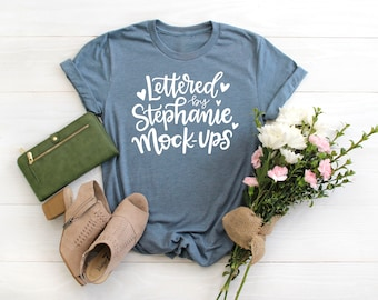 Crew neck, no tag, Heather Slate   T-Shirt Mock Up   Feminine Flat Lay   Womens   Flowers   Shirt Mockup   Graphic Tee Flat Lay