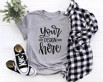 T-Shirt Mock Up   No Tag   Mom Flat Lay   Coffee   Womens   Gray   Shirt Mockup   Graphic Tee Flat Lay   Bella Canvas 3001 Athletic Heather