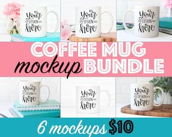 White coffee mug mockup bundle, stock photo of coffee mug, styled mug photo, mug mockup