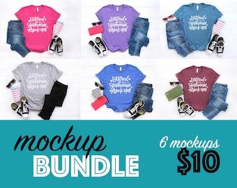 T-shirt mockup bundle, bella canvas 3001 mockup bundle, shirt flat lay bundle, casual style tshirt mockup, graphic tee mockup