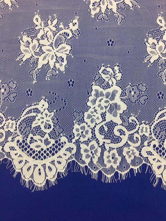Tissu de dentelle Chantilly Français élégant, tissu Floral dentelle doux de mariée en Tulle pour mariage robe, tissu doux dentelle voile de mariée en dentelle 3 mètres c897b3