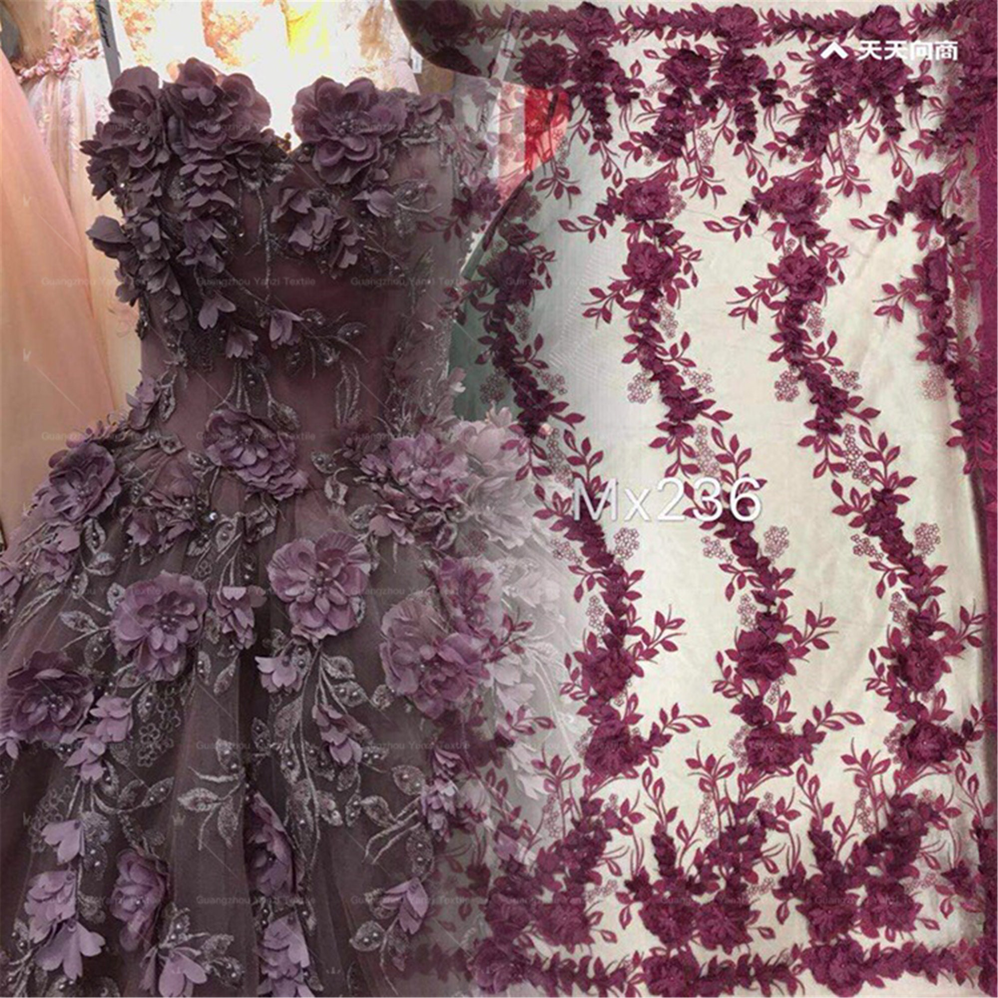 High Quality Embroidery Lace Fabric Tulle Embroidery Lace Fabric Evening Dress Fabric Prom Gown Lace Fabric By The Yard