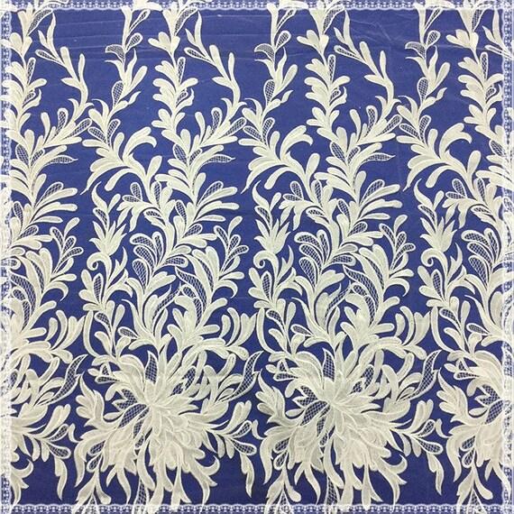 Nouveau Design Brodé Floral Dentelle Tissu Brodé Design Tissu En