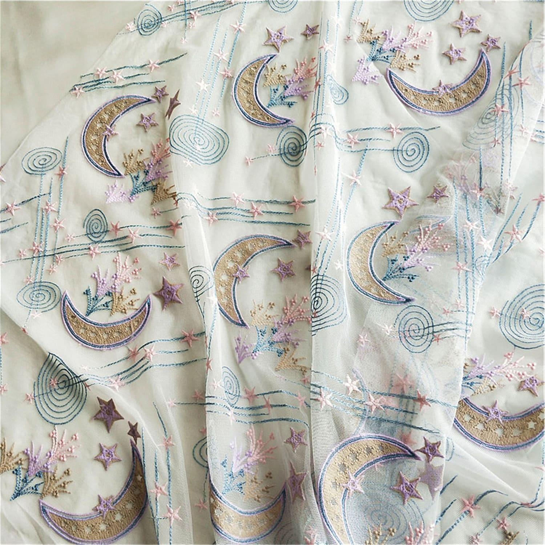 Tulle broderie dentelle, tissu dentelle étoiles colorées pour pour colorées fille, robe Prom\ bricolage parti robe en tissu 62cfe3