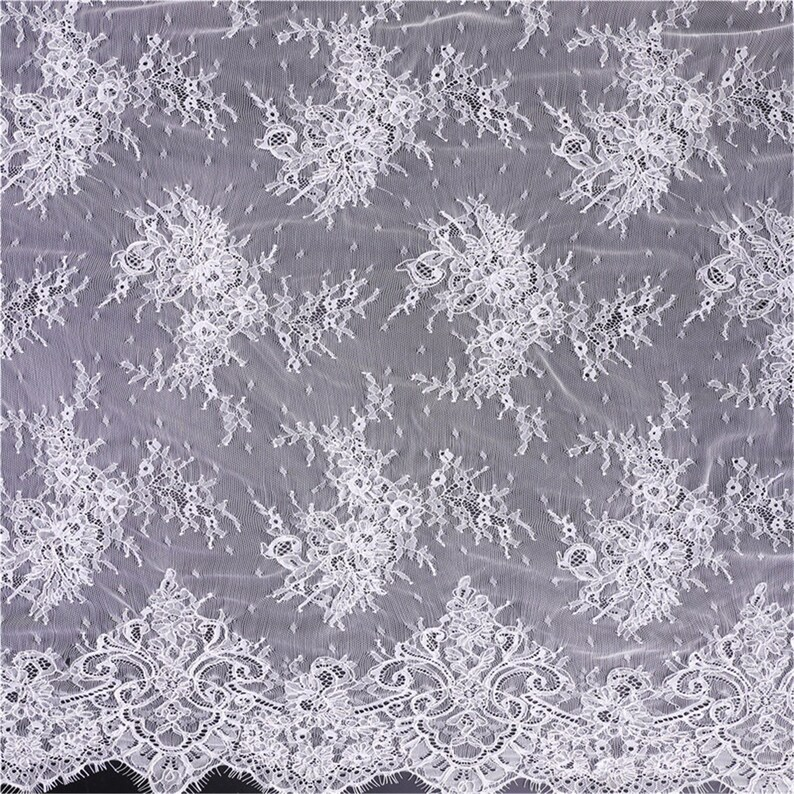 3 Meter Exquisite French Floral Lace Fabric Mesh Chantilly Lace Fabric for Wedding Bridal Dress Tulle Alencon Flower Lace Fabric