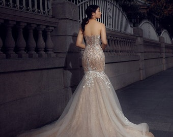 cf67f4e9fd Mermaid wedding dress | Etsy