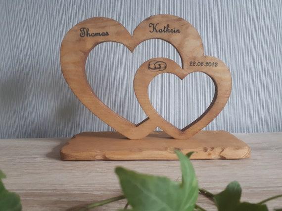 Herzen Aus Naturholz Mit Namen Hochzeit Etsy