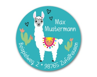 Sticker Lama, Personalized, Address Sticker Alpaca, Sticker Address, 24 pcs.