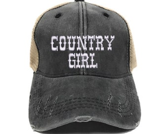 Country Girl Trucker Hat Women s Custom Hats Distressed Baseball Cap Funny  Saying Gift For Her Personalized Vintage Washed 9c1585ff783