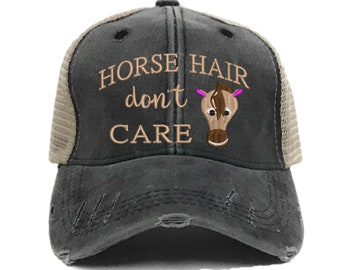 c5d95016a01 Horse Hair Don t Care Custom Trucker Hat For Women Funny Barn Hair Farm  Distressed Baseball Cap Personalized Gift Embroidered Hats Washed