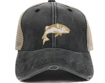 918ef10b1a1913 Fishing Hat - Custom Distressed Fishing Trucker Hats For Men Or Women Funny  Bass Fishing Baseball Cap Personalized Gift Design Your Own Hat
