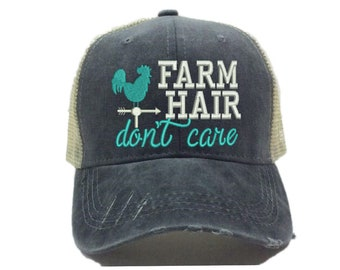 Farm Hair Don t Care Custom Trucker Hat For Women Funny Farm Rooster  Distressed Baseball Cap Personalized Gift Embroidered Hats Washed b906466b5dcd