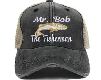 75290518 Mr. Bob (Your Name) The Fisherman - Custom Distressed Trucker Hat -  Embroidered Fishing Hat - Baseball Cap - Design Your Own - Personalize