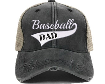 1e44ac837c62c Custom Hat - Baseball Dad - Father s Day Gift - Distressed Trucker Hat -  Men - Embroidered - Gift For Dad - Baseball Cap - Vintage - Sports