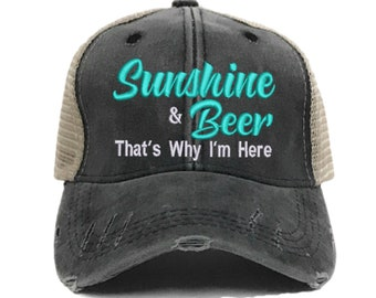 00611cfc141 Sunshine & Beer Women's Custom Trucker Hats Funny Distressed Baseball Cap  Personalized Gift For Her Girls Hat