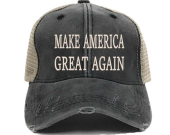 ff8a7004d07 Make America Great Again Trucker Hat - Politics - Men s Women s Custom -  Distressed - Embroidered - Trump - Baseball Cap - Gift For Him Her