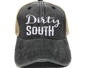 Custom Trucker Hat Men Or Women - Dirty South - Distressed - Baseball Cap -  Funny - Gift For Her Him - Personalized - Vintage - Embroidered 98c88fb7159d