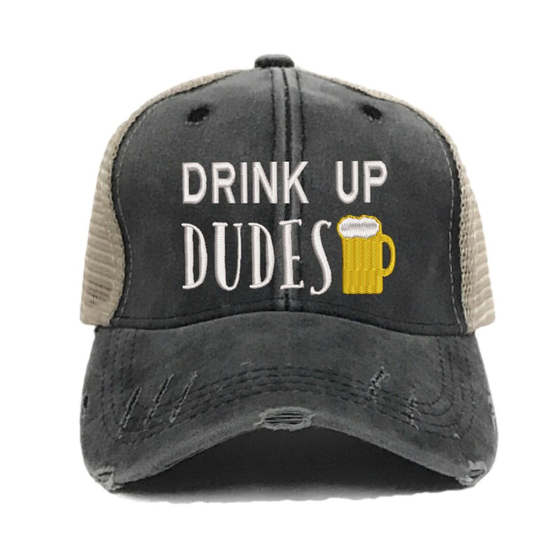 68a4c12176bef Custom Hat Drink Up Dudes Trucker Hat Guys Mens Distressed Embroidered  Baseball Cap Alcohol Party Drinking Caps Personalized Gift Him