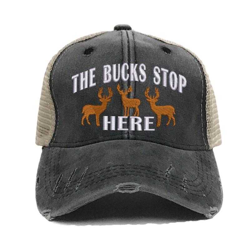 5cb5be5e The Bucks Stop Here Deer Hunting Men's Custom Trucker Hats | Etsy