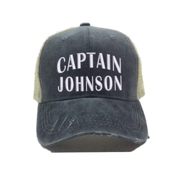 Unisex Adult Custom Nautical Adjustable Trucker Captain Hat for Men or Women Black