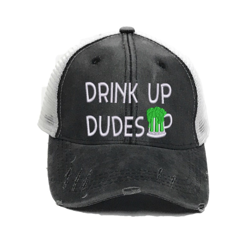 70fa910240345 Drink Up Dudes Green Beer St Patrick's Day Men's Irish Custom Drinking  Distressed Trucker Hat Baseball Cap Personalized Gift For Him Alcohol