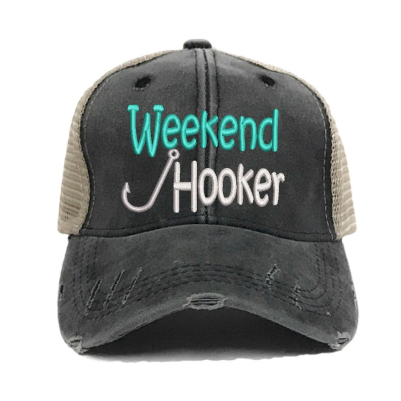 ec3dbd8fc7252 Custom Hat Weekend Hooker Fishing Trucker Hat Women s