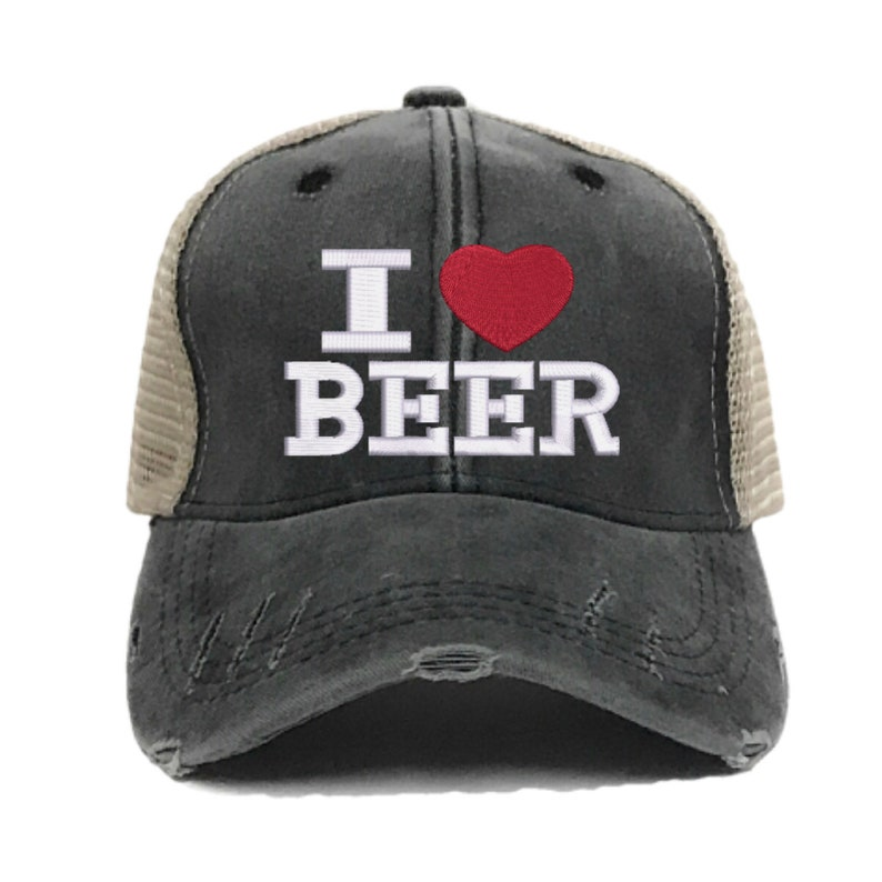 2d02566adb229 Custom Hat I Love Beer Adult Men Women Embroidered Trucker Hat Drinking  Partying Alcohol Distressed Baseball Cap Personalized Gift For Her