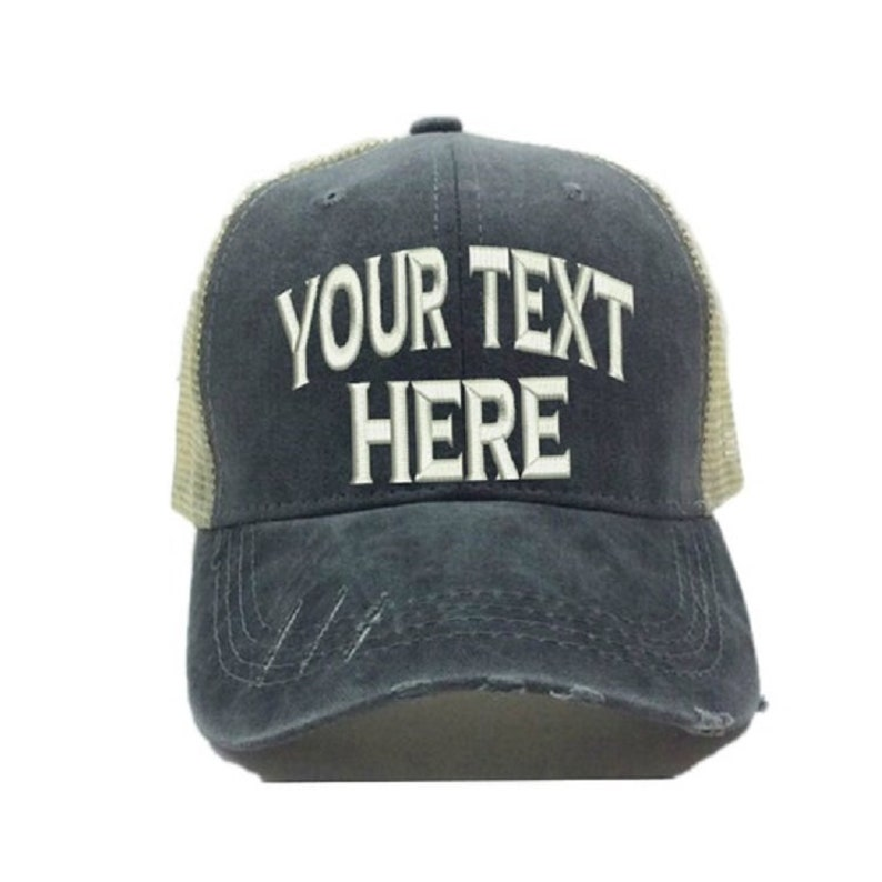 7b03af6df Custom Hats - Your Text Design Trucker Hat - Funny Hat - Men Women's  Distressed Trucker Hat - Embroidered - Baseball Cap - Personalized