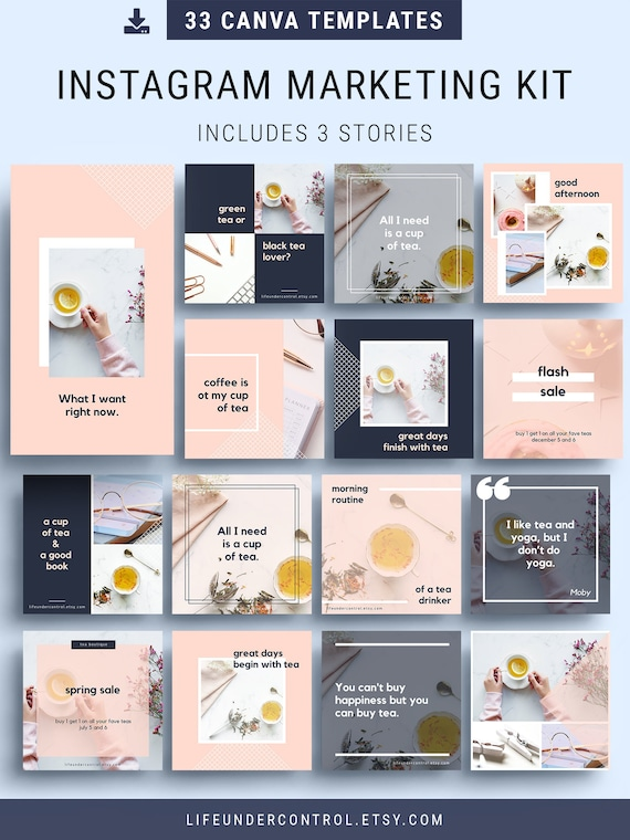 Instagram Marketing Kit 33 Canva Template How To Sell On Etsy With Instagram Photo Overlays Social Media Blogging Home Business
