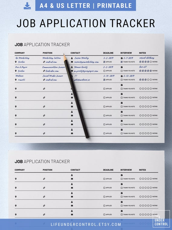 Job Application Tracker Printable A4 Us Letter Digital Fillable Pdf Minimal Modern Template For Employment Clean Resume Template