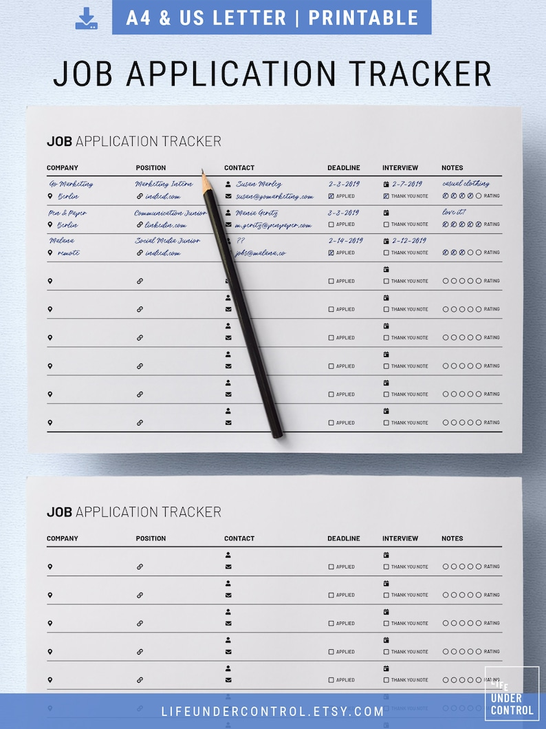 Job Application Tracker Printable   A4 & US Letter   Digital Fillable PDF,  Minimal Modern Template For Employment, Clean Resume Template