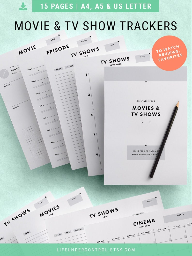 Movies & TV Shows Tracker | Ultimate Bundle for A4, A5, Letter | Binder  Printables, To Watch, Favorites List, Films and Series Reviews